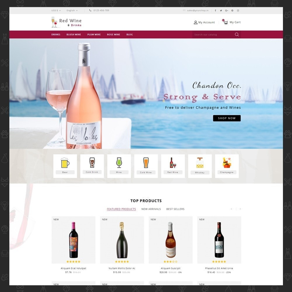 theme - Boissons & Tabac - Red Wine Online Store - 2