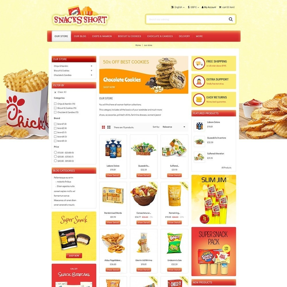 theme - Lebensmittel & Restaurants - Snacksshort Food Store - 4