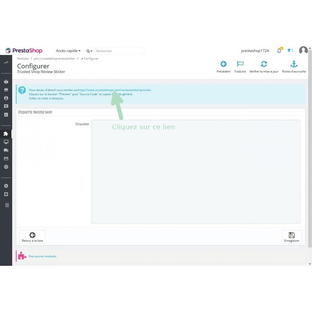module - Avis clients - Étiquette de notation TrustedShop - 2