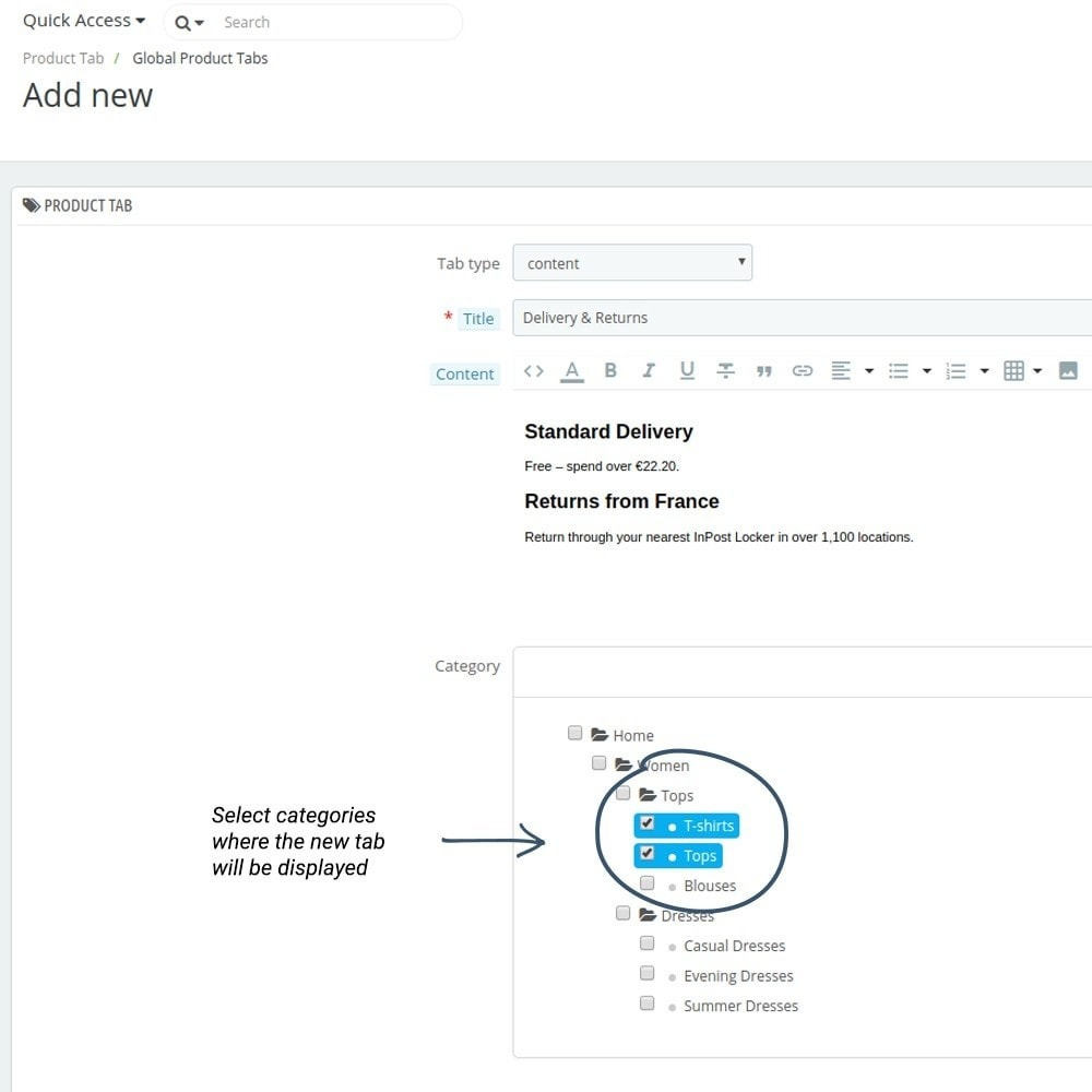 module - Altre informazioni & Product Tab - Product Tabs - 2