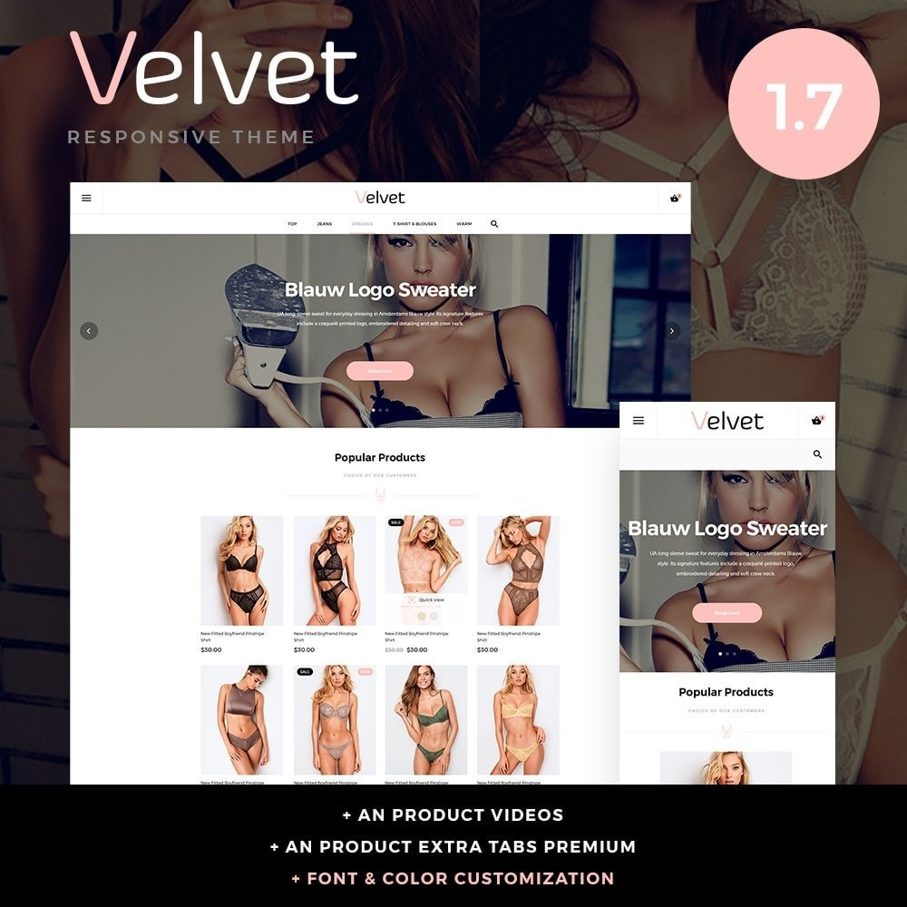theme - Lingerie & Adulte - Velvet Lingerie Shop - 1