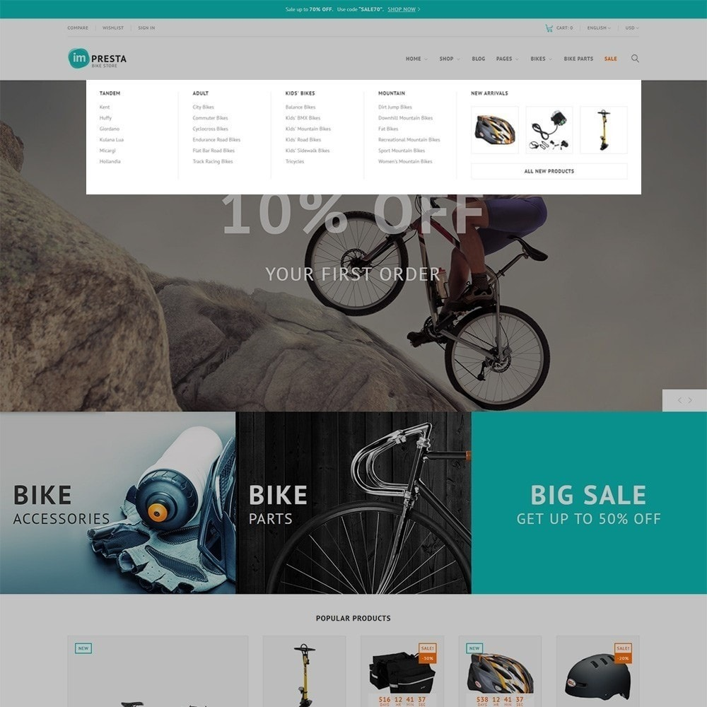 theme - Спорт и Путешествия - Impresta - шаблон для магазина велосипедов - 6