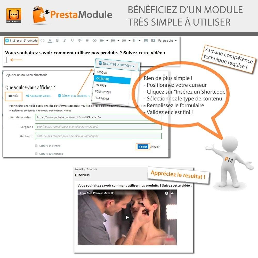 module - Personnalisation de Page - Advanced Shortcode - Ajout de vidéos, posts, liens,... - 3