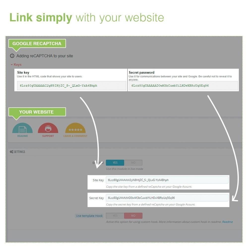 module - Security & Access - reCaptcha Modulo di iscrizione e contatto - Anti spam - 6