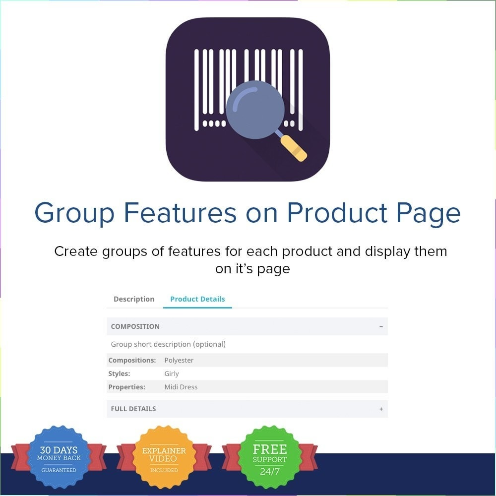 module - Personalisering van pagina's - Group Features on Product Page - 1