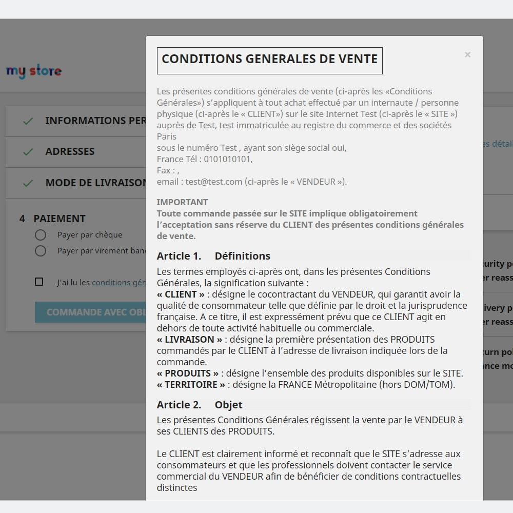 module - Legal - Custom Terms and Condition for France - GDPR Compliant - 4