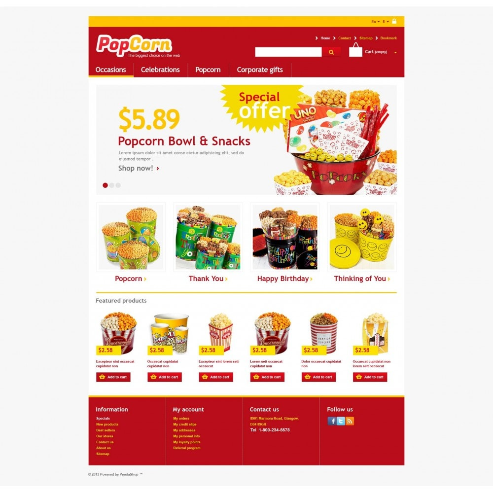 theme - Alimentation & Restauration - Responsive Pop Corn Store - 4
