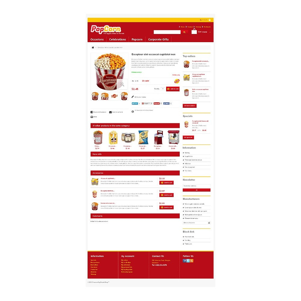 theme - Alimentation & Restauration - Responsive Pop Corn Store - 7