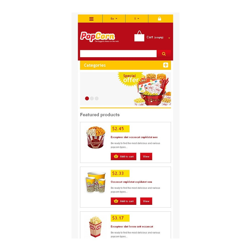theme - Alimentation & Restauration - Responsive Pop Corn Store - 9