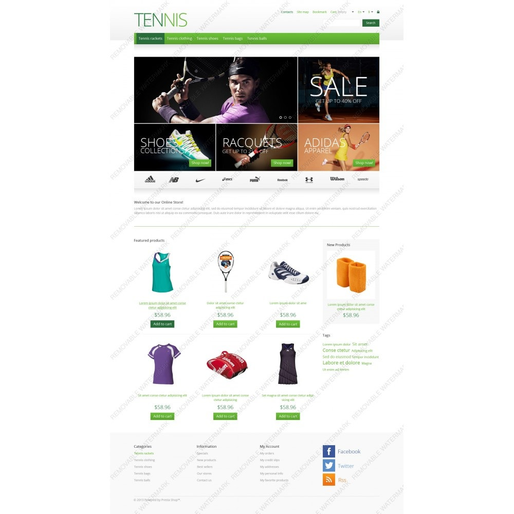 theme - Sports, Activities & Travel - Responsive Tennis Store - 5