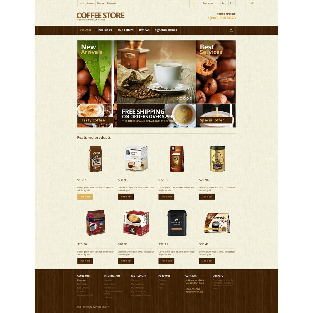 theme - Lebensmittel & Restaurants - Responsive Coffee Store - 2