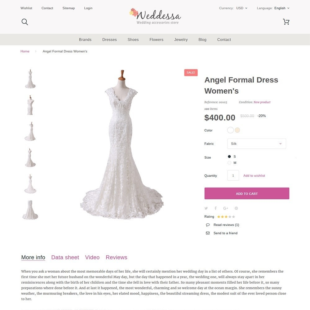 theme - Мода и обувь - Weddessa - шаблон на тему свадебный магазин - 4