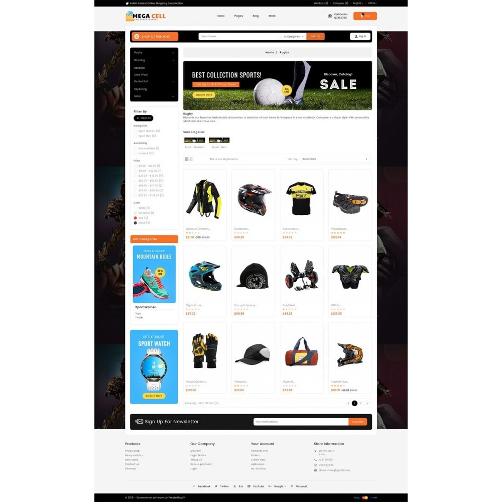 theme - Sport, Activiteiten & Reizen - Mega Cell Sports Equipment - 3