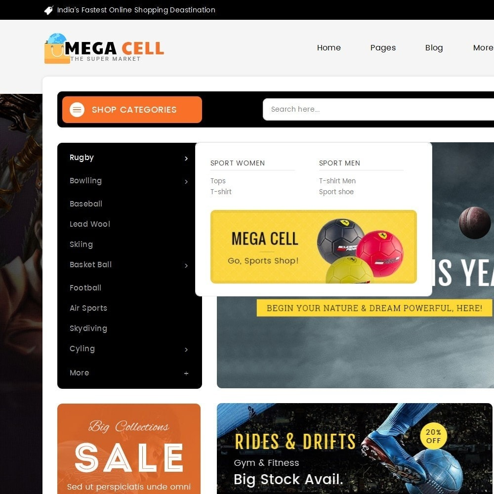 theme - Sports, Activities & Travel - Mega Cell Sports Equipment - 8