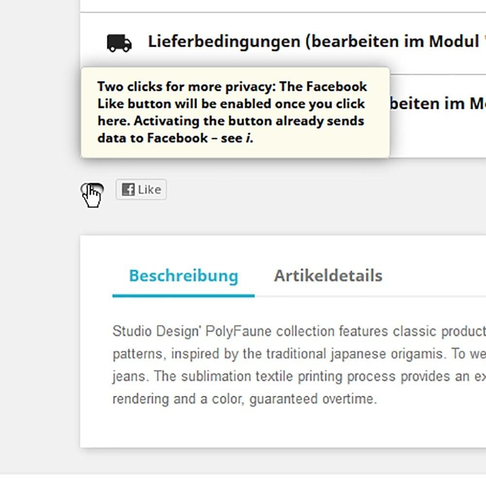 module - Teilen & Kommentieren - 2klick Lösung Social-Media Buttons besseren Datenschutz - 2