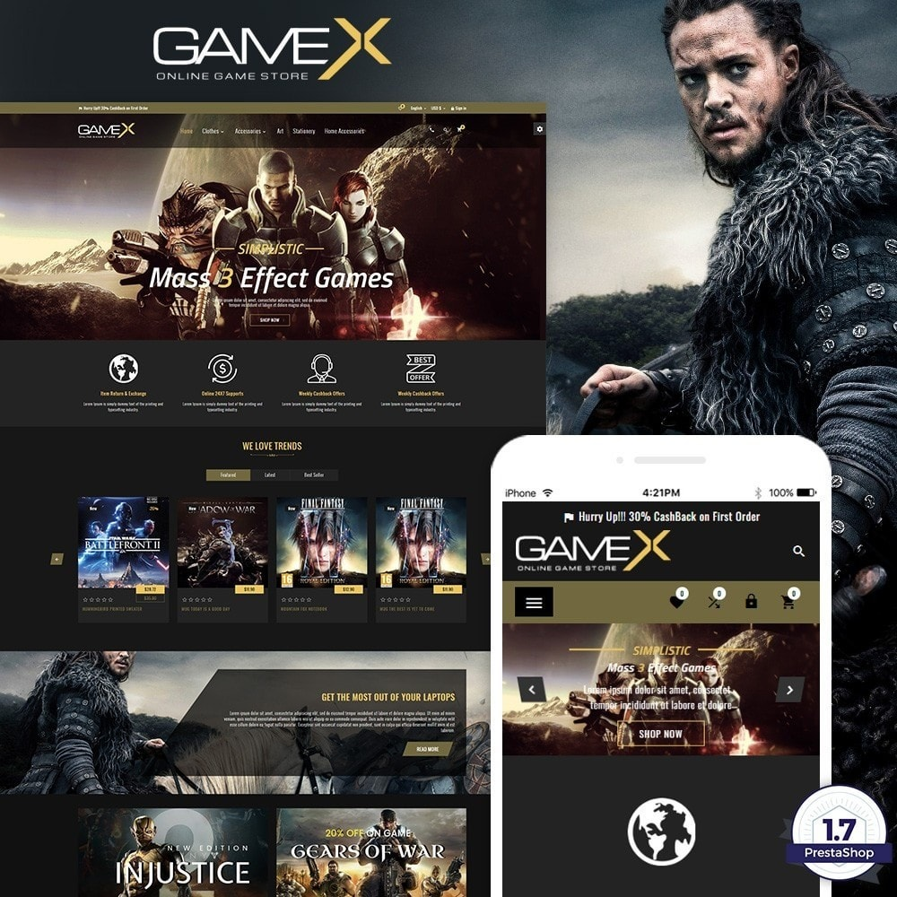 theme - Электроника и компьютеры - GameX – Game and Play Super Store - 1