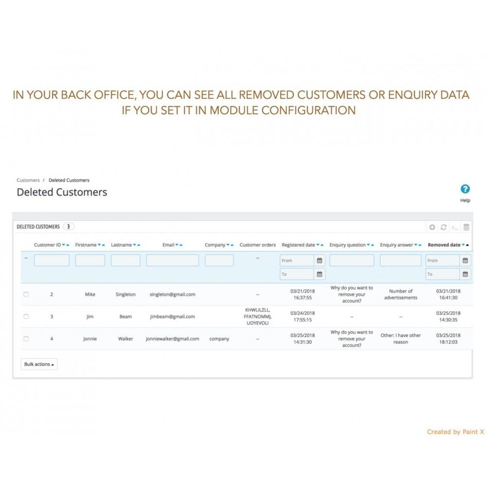 module - Rechtssicherheit - GDPR Löschen vom Benutzerkonto mit erweiterten Optionen - 5