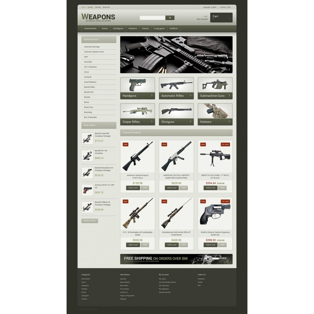 theme - Temas PrestaShop - Weapons of All Calibres - 2