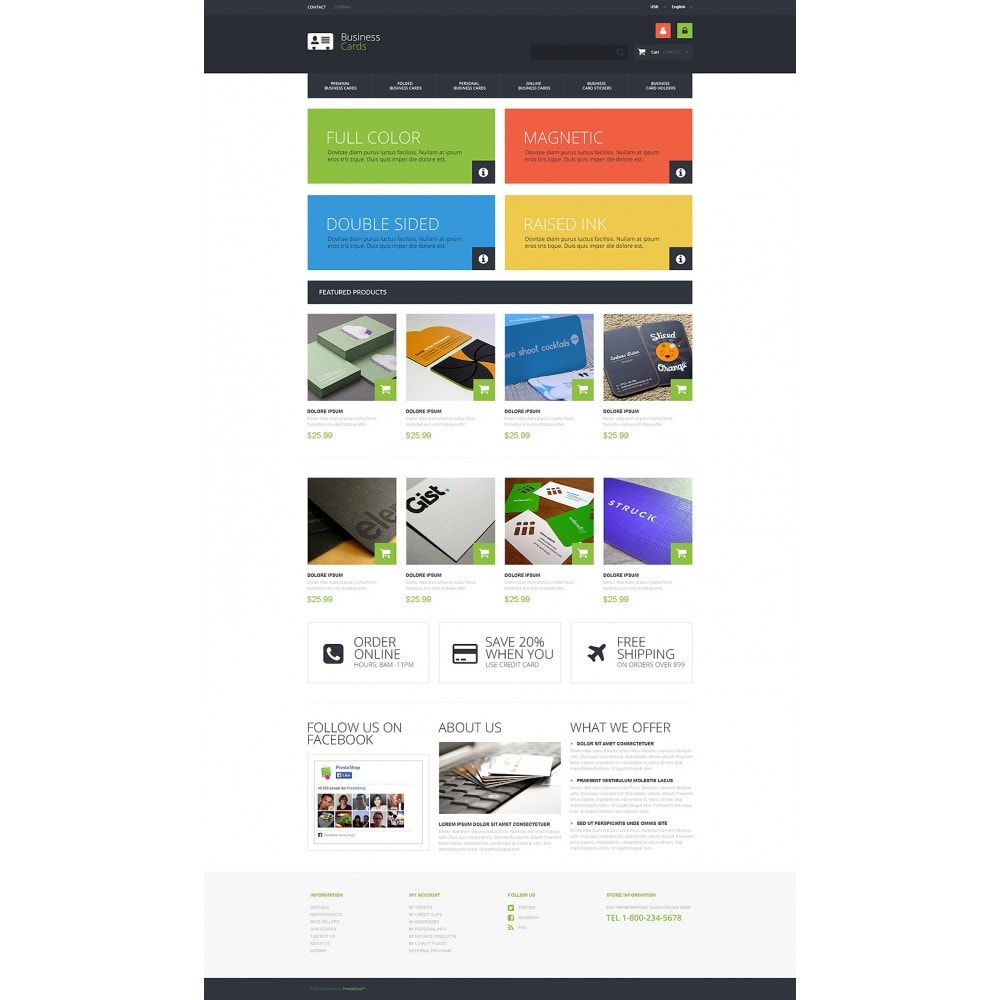 theme - PrestaShop Templates - Business Cards Store - 2