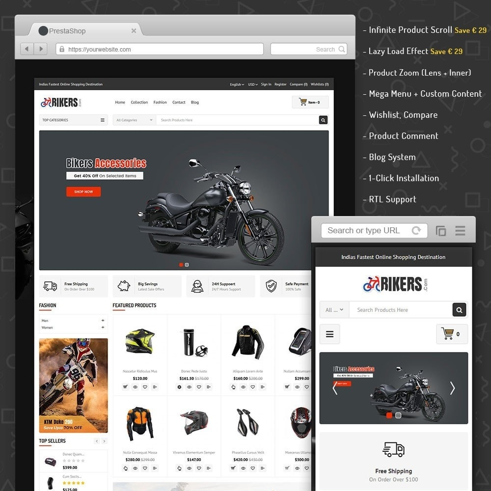 theme - Carros & Motos - Bikers Accessories Store - 1
