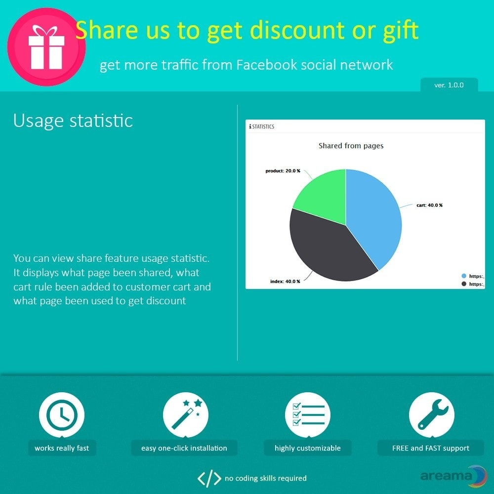 module - Share Buttons & Comments - Share us to get discount or gift - 5