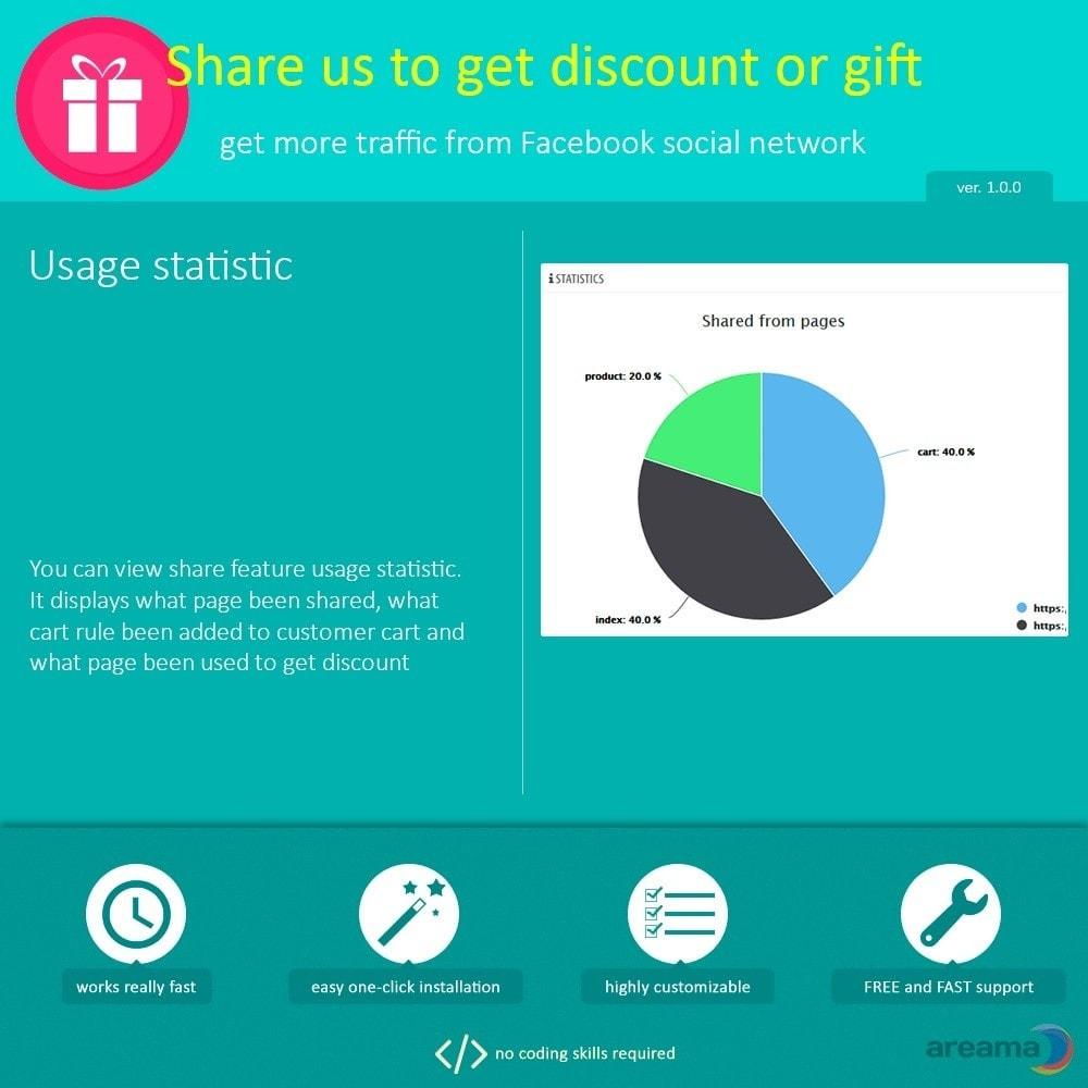 module - Кнопки 'Рассказать друзьям' и комментариев - Share us to get discount or gift - 5