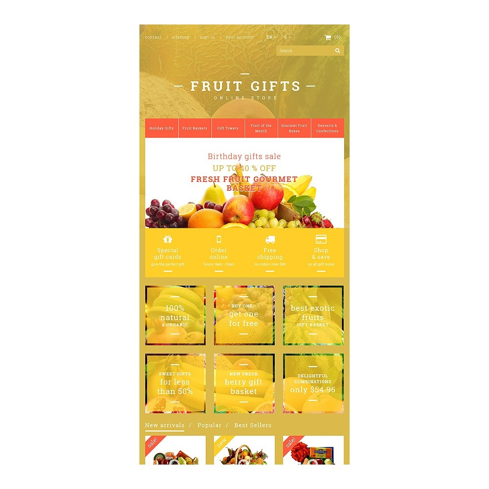 theme - Gifts, Flowers & Celebrations - Fresh Fruit Gift Basket - 7