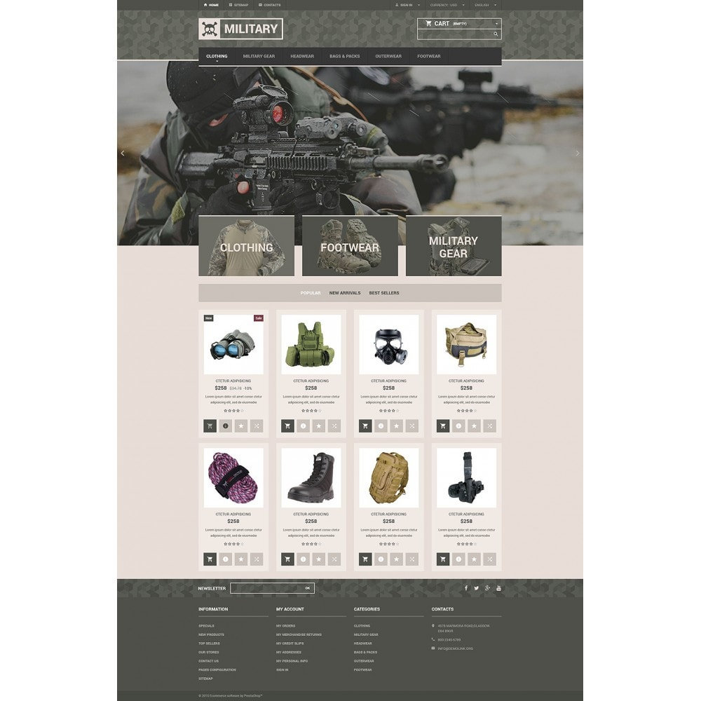 theme - PrestaShop Templates - Military Gear Store - 2