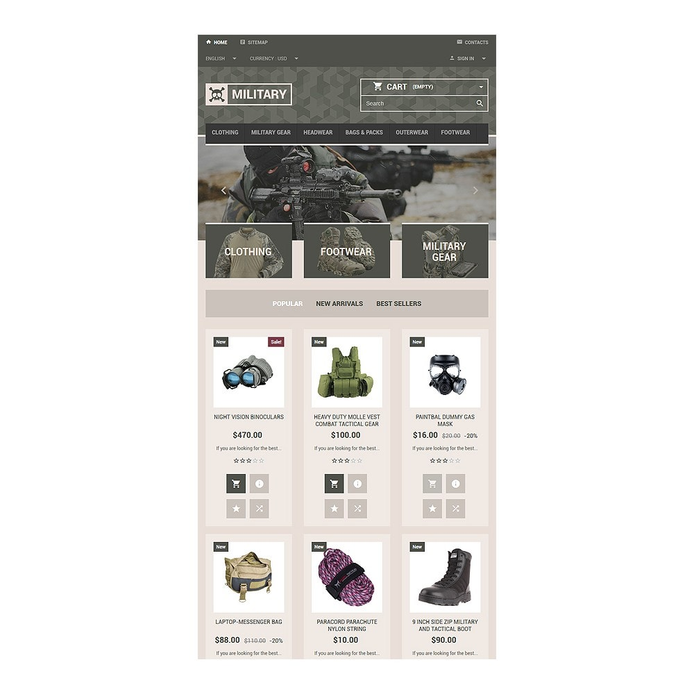 theme - PrestaShop Templates - Military Gear Store - 7