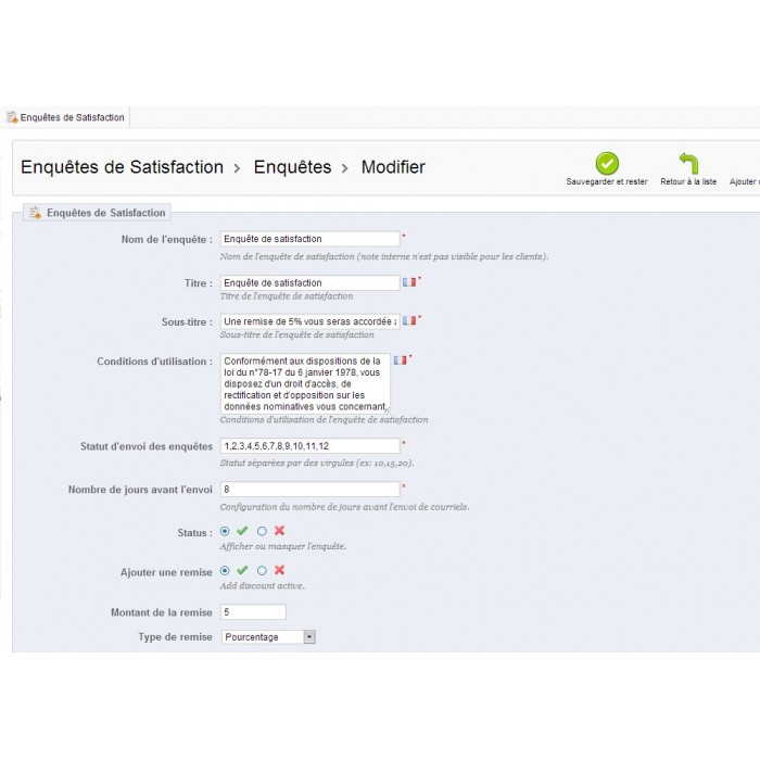 module - Formulario de contacto y Sondeos - Satisfaction Survey - 25