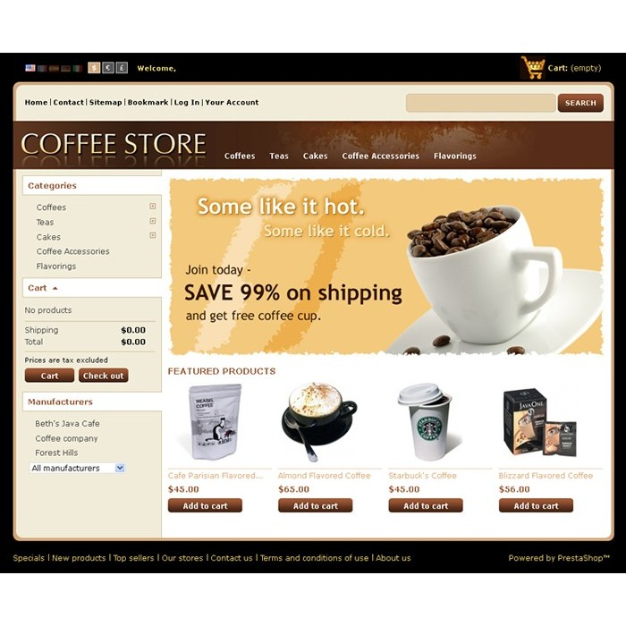 theme - Alimentation & Gastronomie - Coffee Prestashop Theme - PRS020040 - 1