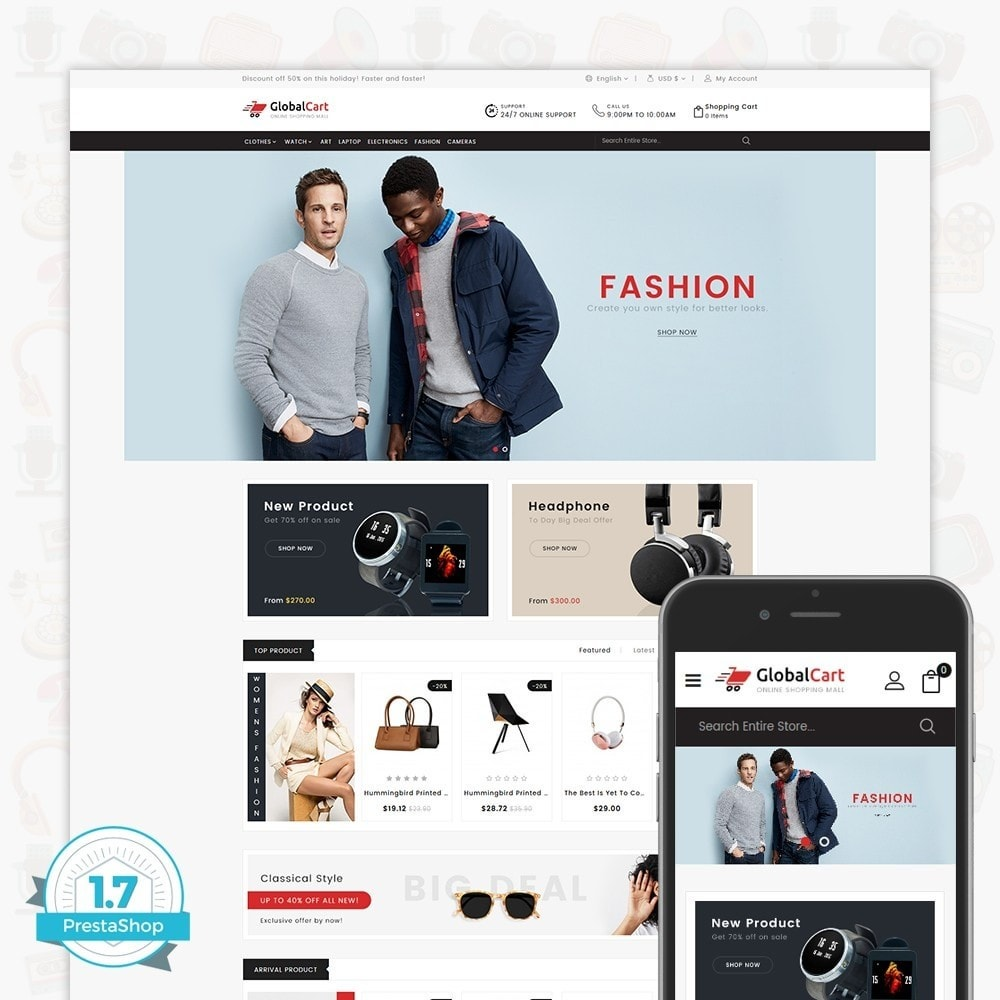 theme - Elektronika & High Tech - GlobalCart - Online Shopping Mall - 1