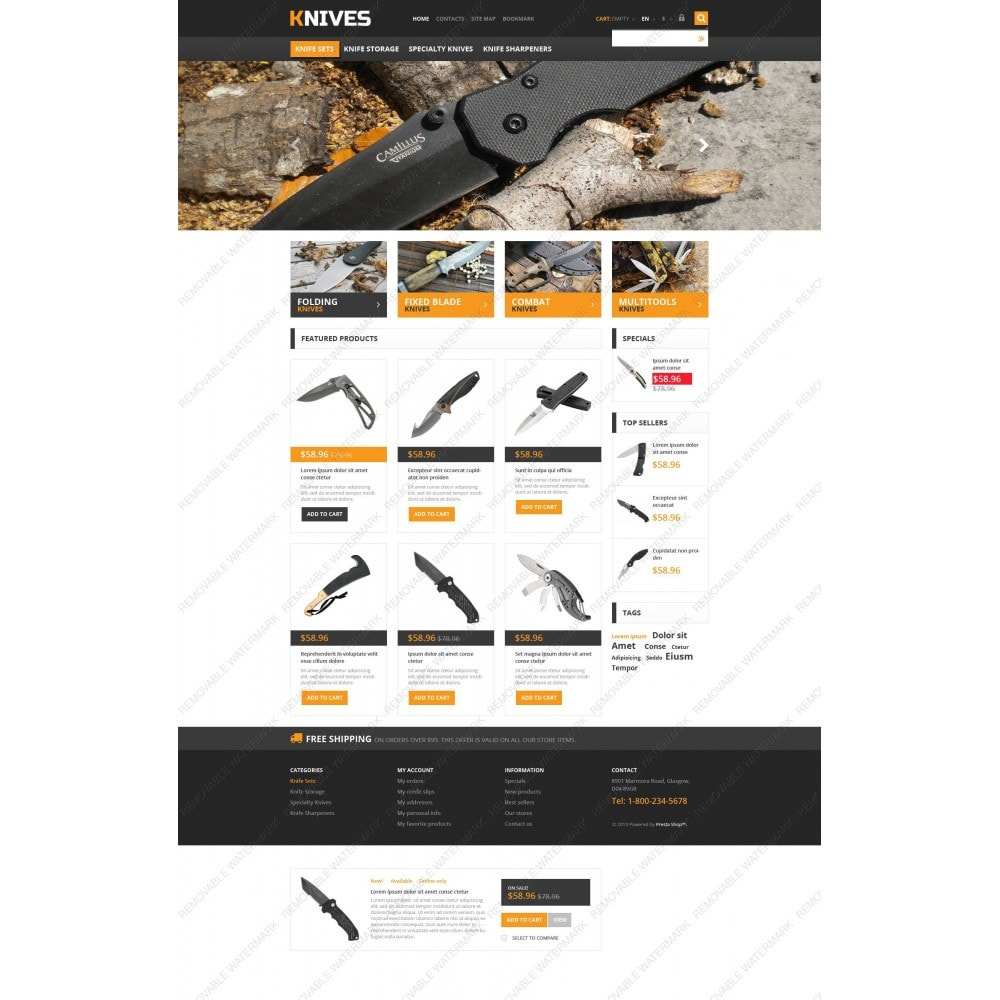 theme - Template PrestaShop - Responsive Knives Store - 3