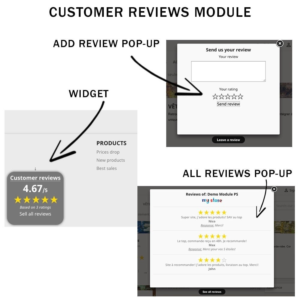 module - Recensioni clienti - Customer reviews + Ratings + Reviews Rich Snippets - 3