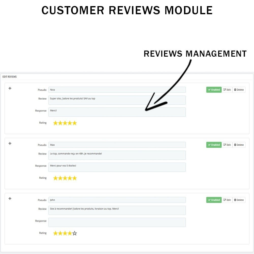 module - Comentarios de clientes - Customer reviews + Ratings + Reviews Rich Snippets - 5