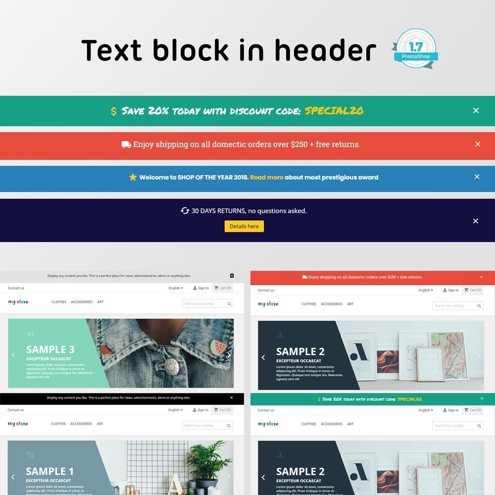 module - Blocks, Tabs & Banners - Text block in header - 1