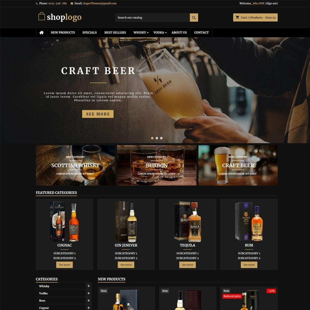 theme - Drink & Tobacco - AT18 Black - Drink, alcohol, liquor, whisky, beer store - 1