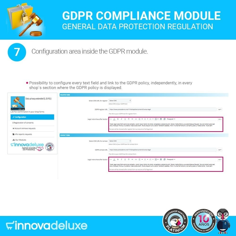 module - Legal - Data privacy extended (data protection law) - GDPR - 13
