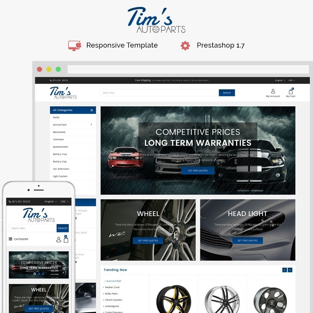 theme - Carros & Motos - Tim's Autoparts Store - 1