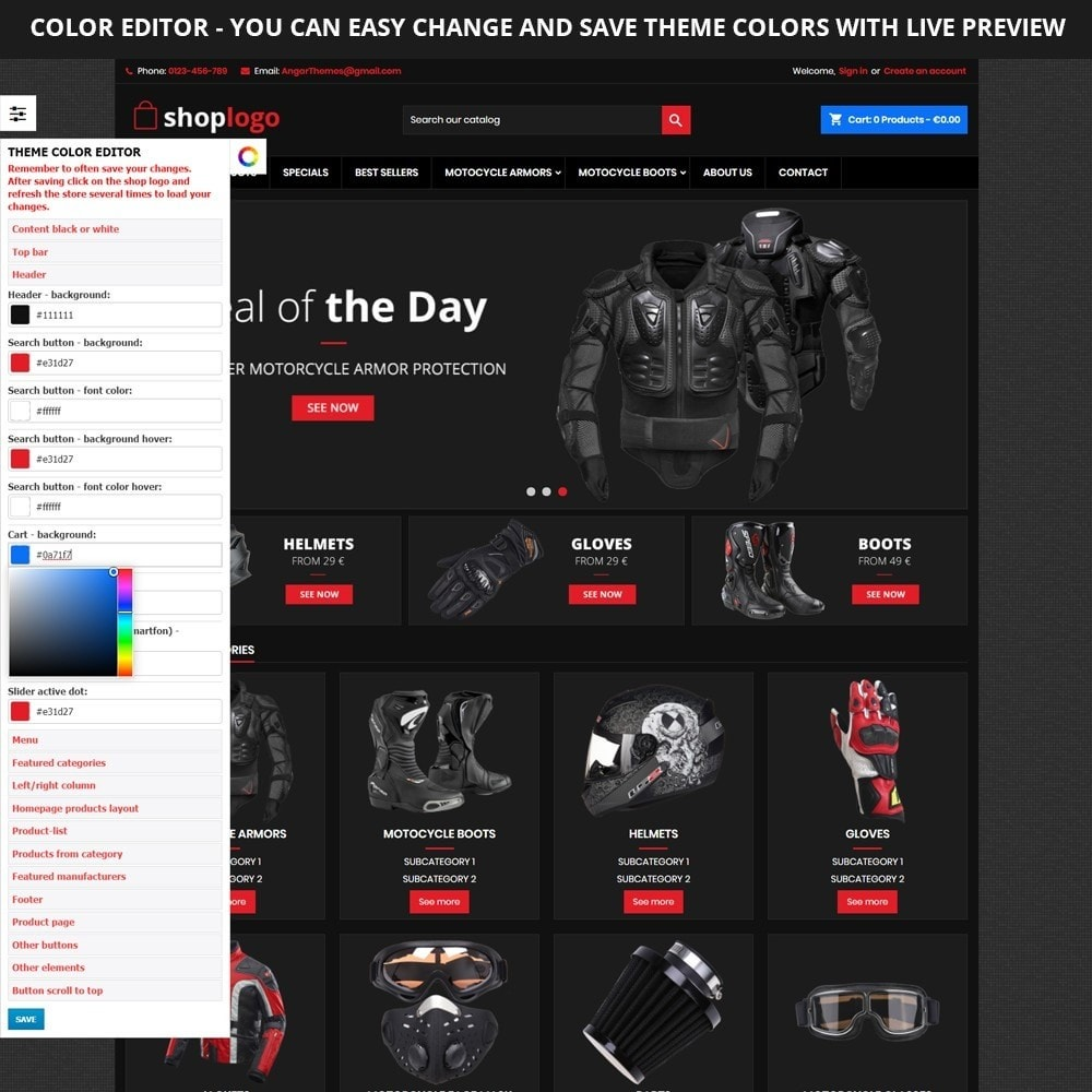 theme - Auto's & Motoren - AT19 Black - Motorcycles cloths and parts store - 3