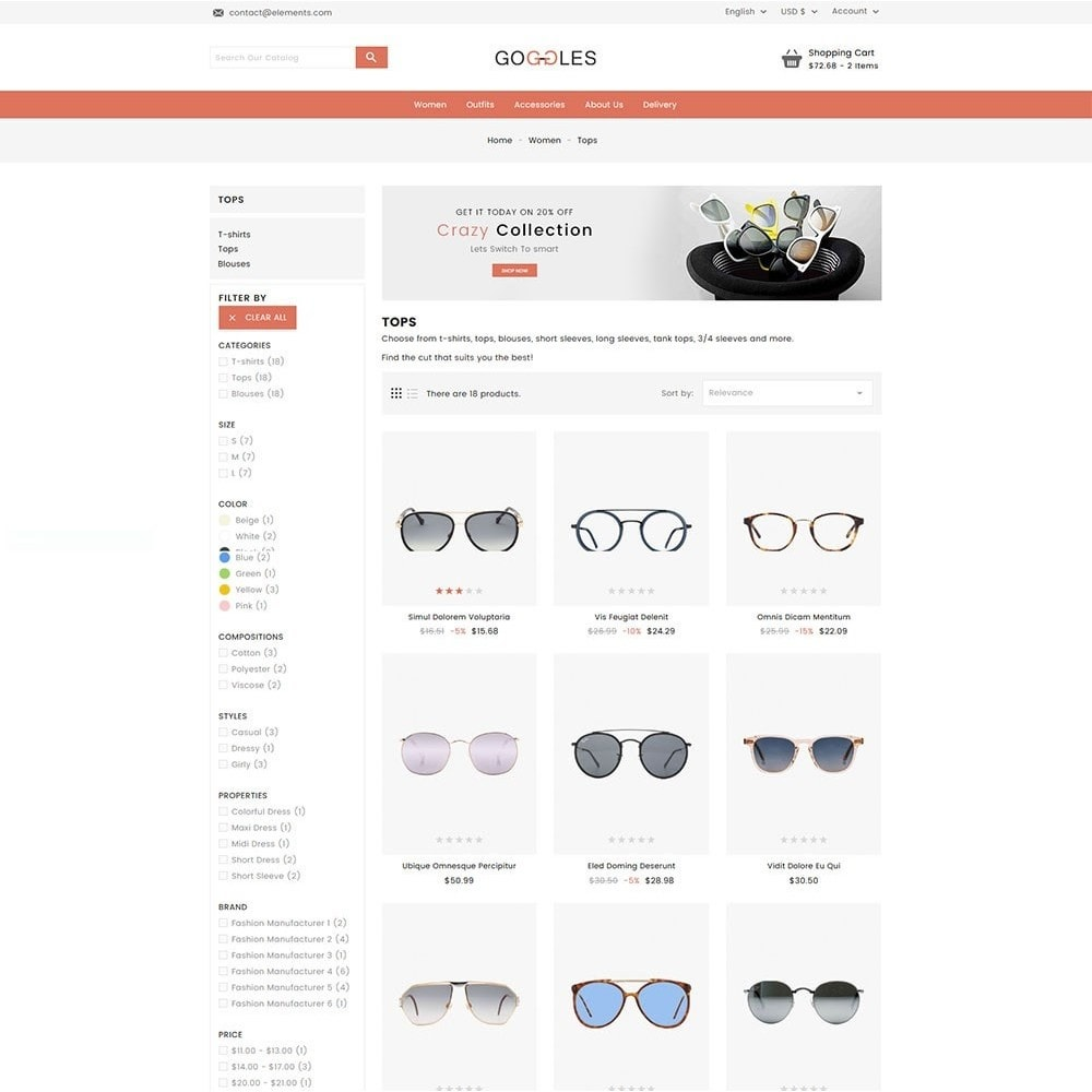 theme - Mode & Schoenen - Goggles Online Store - 5