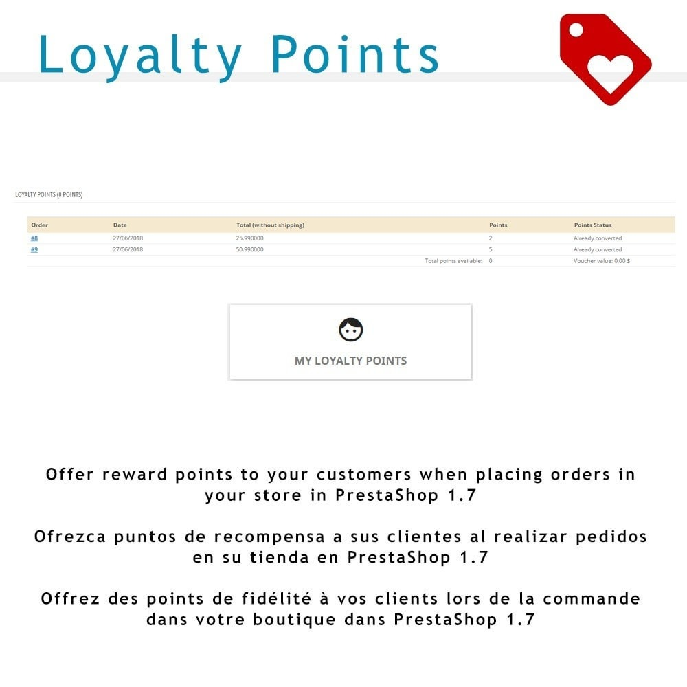 module - Programa de Fidelidad - Loyalty Points for PS 1.7 - 1