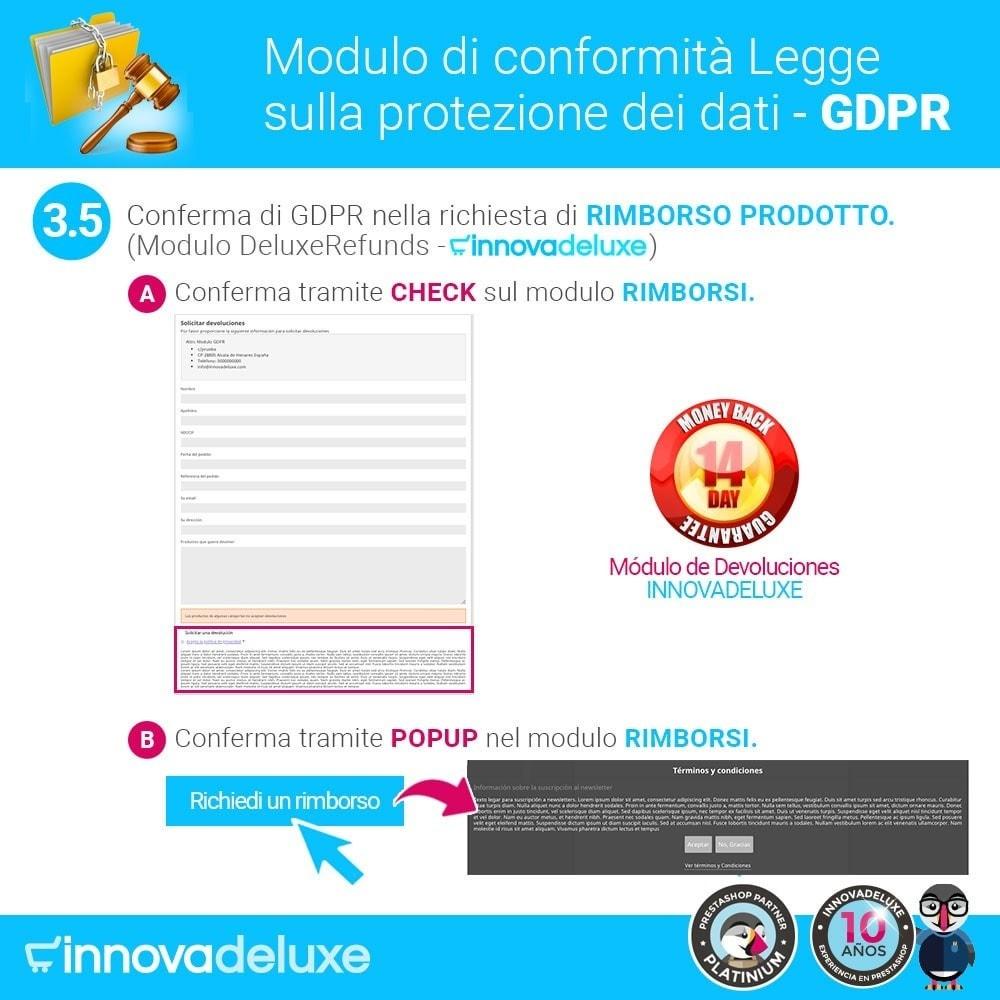 module - Legale (Legge Europea) - Codice in materia di Protezione dei Dati Personali RGPD - 8