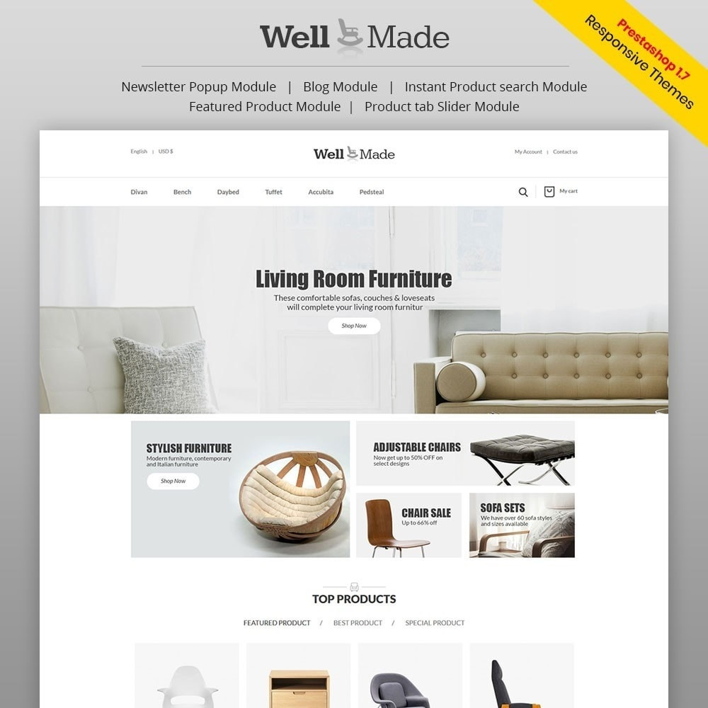 theme - Mode & Chaussures - Wellmade Light Furniture Store - 1