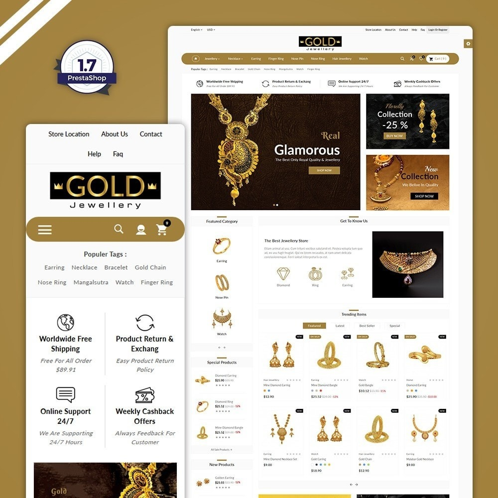 theme - Jewelry & Accessories - The Gold- Jewelry Store - 1