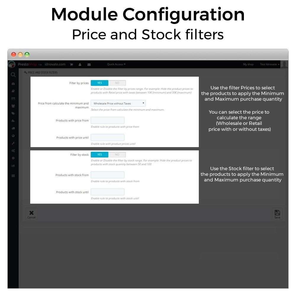module - Inscripción y Proceso del pedido - Cantidad mínima y máxima de compra de producto - 4