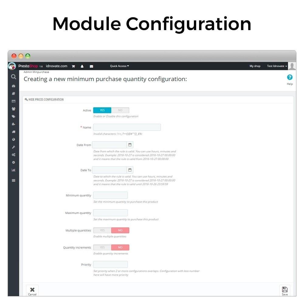 module - Inscripción y Proceso del pedido - Cantidad mínima y máxima de compra de producto - 2