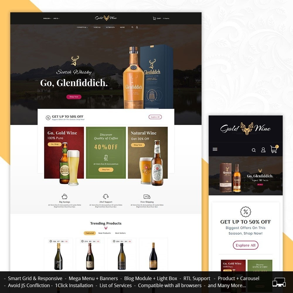 theme - Bebidas & Tabaco - Gold Wine & Beer - 1