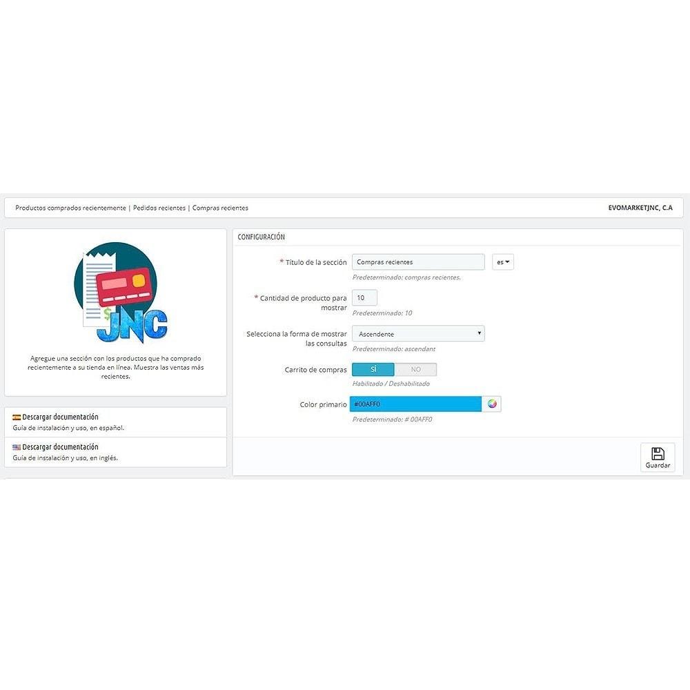 module - Gestión de Pedidos - Productos comprados recientemente   Pedidos recientes - 2