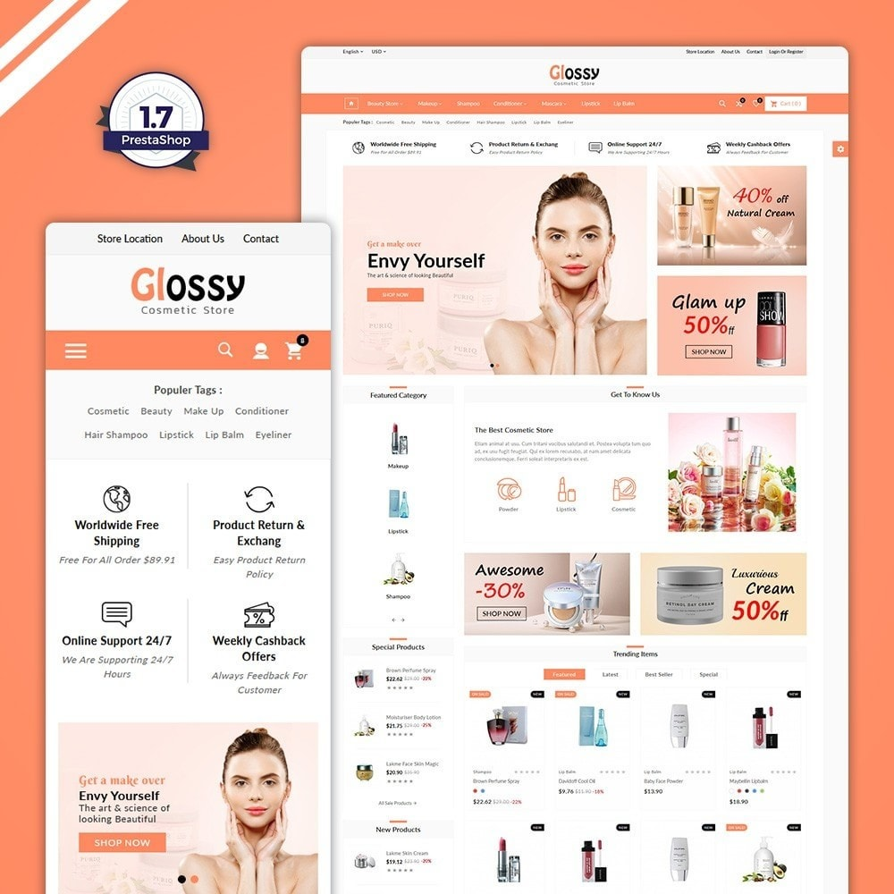 theme - Health & Beauty - Glossy –Cosmetic Mega Shop - 1